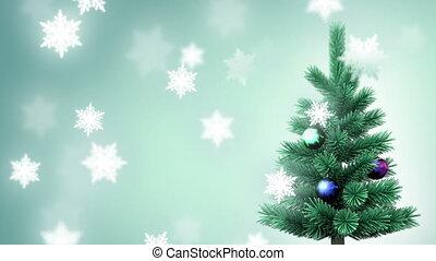 flocons neige, arbre noël
