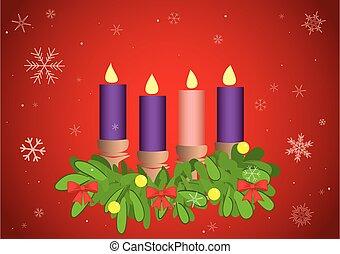 flocons neige, bougies, -, venue, 4, vecteur, illustration, fond, rouges
