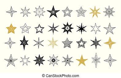 flocons neige, collection, main, étoiles, décorations, illustrations, dessiné, noël