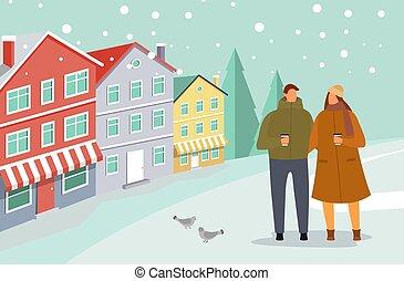 flocons neige, couple, temps, hiver, date