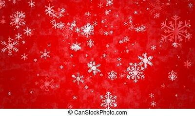 flocons neige, fond, rouges