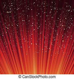 flocons neige, light., eps, étoiles, sentier, 8, rouges