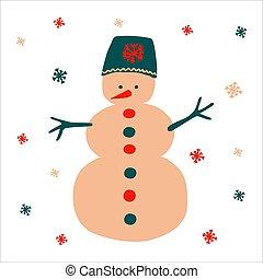 flocons neige, main, chapeau, scandinave, style., noël, format., objet, bonhomme de neige, traditionnel, simple, carrée, vecteur, clair, fond, beau, illustration, dessiné, blanc