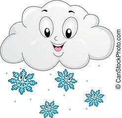 flocons neige, nuage, mascotte