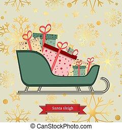 flocons neige, or, modèle, seamless, illustration, présente., tas, vecteur, luxe, santa, traîneau