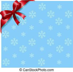 flocons neige, ruban, fond, rouges