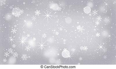 flocons neige, seamless, étoiles, tomber, argent, boucle