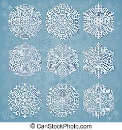 flocons neige, vecteur, illustration