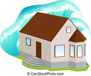 floods., maison, contre, vague, élevé, assurance