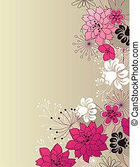 floral, élégant, arrière-plan rose, lumière