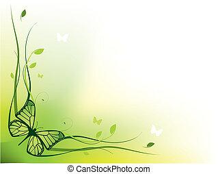 floral, élégant, frontière