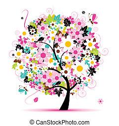 floral, été, conception, arbre, ton