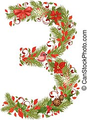 floral 3, arbre, noël, nombre