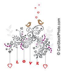 floral, amour, ornement, oiseaux