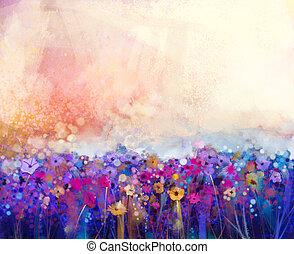 floral, aquarelle, tableauabstrait