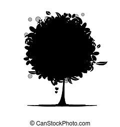 floral, arbre, silhouette, noir