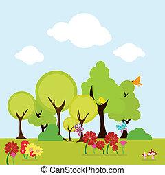 floral, arbres, fond
