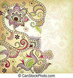 floral, asie, fond
