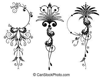 floral, bannières, ensemble