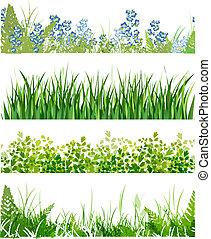 floral, bannières, herbe, vert
