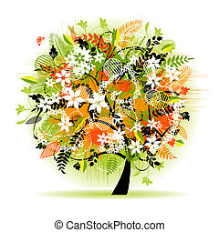 floral, beau, arbre