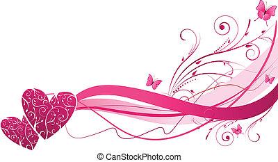 floral, cœurs, vague