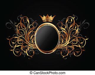 floral, cadre, couronne, héraldique