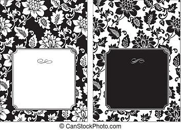 floral, cadre, vecteur, ensemble