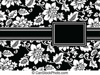 floral, cadre, vecteur, noir, ruban
