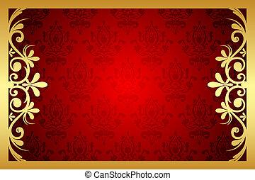 floral, cadre, vecteur, rouges, or