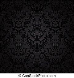 floral, charbon de bois, papier peint, luxe