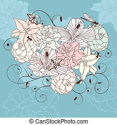 floral, coeur, agréable