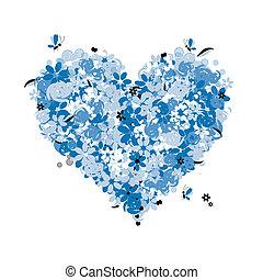 floral, coeur, amour, forme
