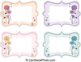 floral, couleurs, différent, étiquettes