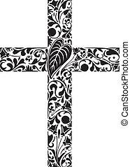 floral, croix