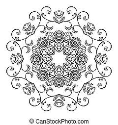 floral, croquis, ornement