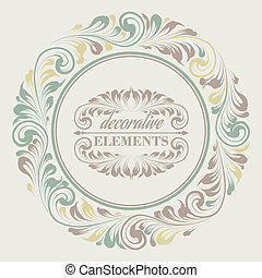 floral, décoratif, cadre, elements.