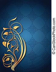 floral, doré, bleu, motifs
