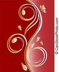 floral, doré, conception