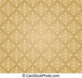 floral, doré, papier peint, seamless