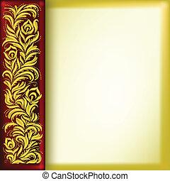 floral, doré, résumé, ornement, fond