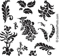 floral, ensemble, ornement, vecteur