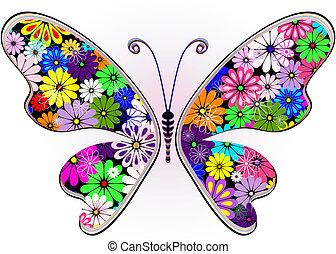 floral, fantasme, papillon, vif