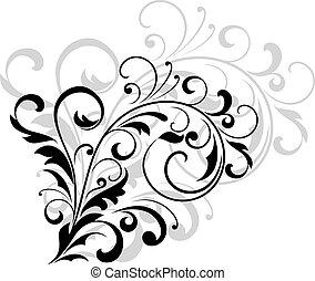 floral, feuilles, tourbillonner, concevoir élément