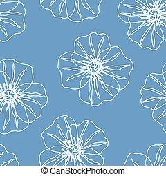 floral, fleurs, beau, modèle, seamless, bleu