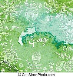floral, fleurs, cadre, fond, retro