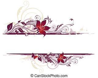 floral, fleurs, fond, violet