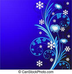 floral, fleurs, hiver, fond