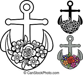 (floral, flourish), ancre, conception, fleurs