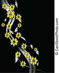 floral, fond, jaune, argent